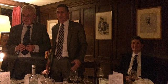 Michael Flynn is pictured at a 2014 dinner at the University of Cambridge.