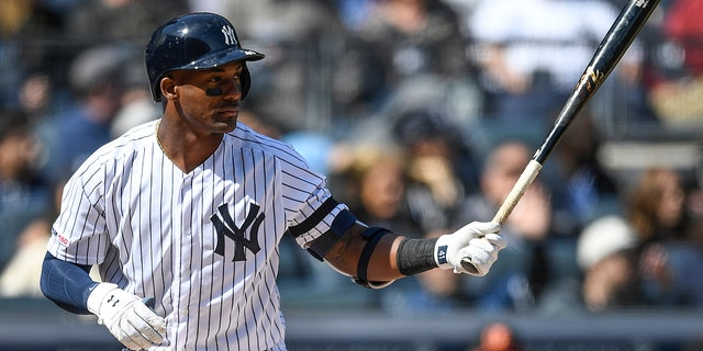 Miguel Andujar #41 of the New York Yankees bats during the first inning of the game against the Baltimore Orioles during Opening Day at Yankee Stadium on March 28, 2019 in the Bronx borough of New York City.