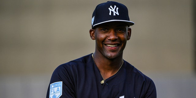 Miguel Andujar #41 of the New York Yankees could require surgery for a tear in his right shoulder.