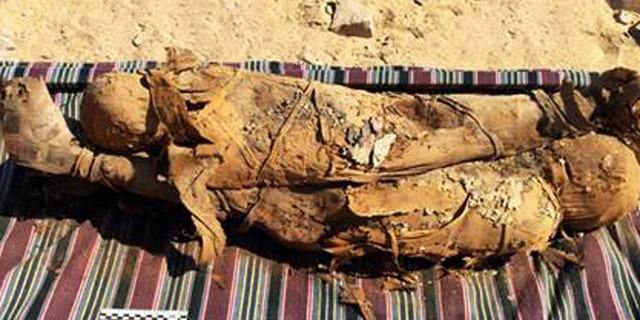 The mummies in a rock-cut tomb in the southern Egyptian city of Aswan.