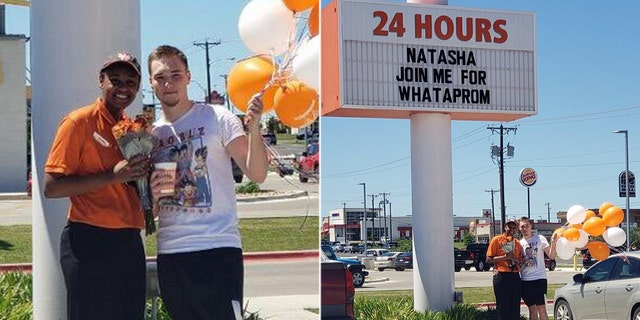 A high school senior was surprised by her boyfriend last week when she showed up for work at a Texas Whataburger and saw that the marquee had been changed to include a personalized note.
