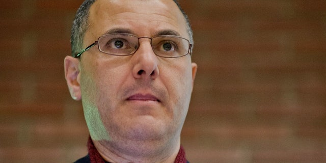 Palestinian researcher, commentator, and human rights activist Omar Barghouti speaks during a conference at the ULB university in Brussels, on April 30, 2013. ( ERIC LALMAND/AFP/Getty Images)