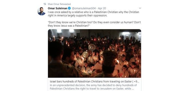 "Rep. Ilhan Omar, D-Minn. is being criticized for retweeting a tweet that claims Jesus was a ""Palestinian."""