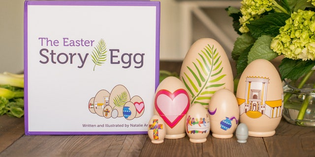 The Easter Story Egg comes with a book and seven handcrafted wooden eggs that help explain the biblical Easter story.