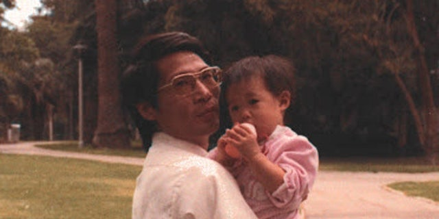 Pastor David Lin and his daughter, Alice, in 1984. His family worries that his health is declining and hope to bring him home soon.