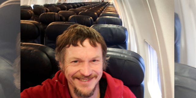 Skirmantas Strimaitis, pictured here taking a selfie, took off from Lithuania on March 16 as the only passenger aboard a Boeing 737-800 airplane.