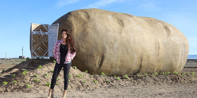 Tiny house builder Kristie Wolfe designed the Big Idaho Potato Hotel, which was unveiled on Monday in Idaho. (Otto Kitsinger/AP Images for Idaho Potato Commission)