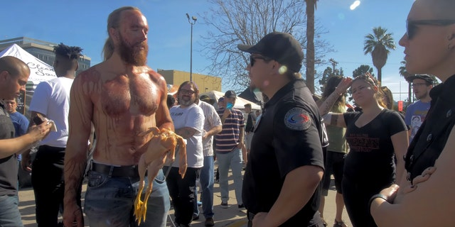 Before his protest he toldMetrohis mission was to help vegans, who he claimed are putting themselves at risk.