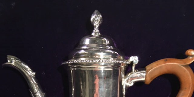 The silver coffee pot made by Paul Revere is valued at $1.85 million. (James Rogers, Fox News)