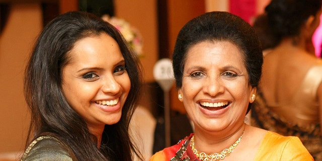 Shantha Mayadunne, a TV chef, right, and her daughter, Nisanga. (Facebook)