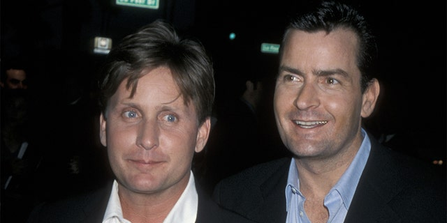 Emilio Estevez and Charlie Sheen during 'Rated X' Los Angeles Premiere at Samuel Goldwyn Theater in Beverly Hills, California, United States. (Photo by Ron Galella, Ltd./WireImage)