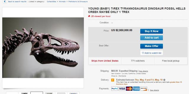 Alan Detrich listed the 68-million-year-old T-Rex on eBay for nearly $3 million.