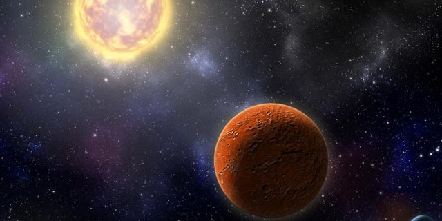 Artist's conception of HD 21749c, the first Earth-sized planet found by NASA's Transiting Exoplanets Survey Satellite (TESS), as well as its sibling, HD 21749b, a warm sub-Neptune-sized world. (Credit: Robin Dienel, courtesy of the Carnegie Institution for Science.)