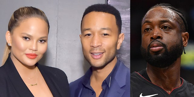 Whoops! Miami Heat player Dwyane Wade accidentally crashed into Chrissy Teigen and her husband John Legend as the pair was sitting courtside at the Tuesday night game in Miami, Fla.