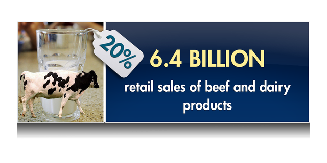 The industry produces $6.4 billion retail sales of beef and dairy products, almost 20 percent of food store sales in Florida