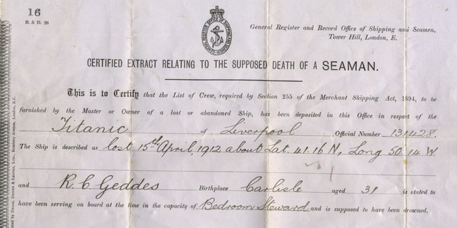 "An official document describing Geddes ""supposed death"" on Titanic. (Henry Aldridge and Son)"