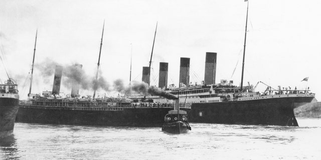 """The Titanic (right) and the SS City of New York come """"within an ace"""" of colliding with each other at Southampton as Titanic departed on its ill-fated maiden voyage, April 10, 1912."""