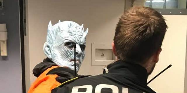"The Night King from HBO's ""Game of Throne"" getting his mugshot taken after his ""arrest"" by the Trondheim Police in Norway."