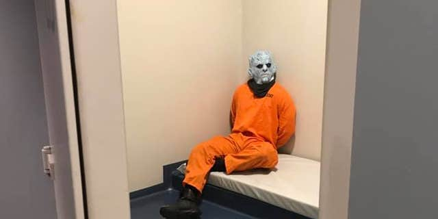 "The Night King from HBO's ""Game of Thrones"" in a solitary jail cell after his ""arrested"" by the Trondheim Police in Norway."