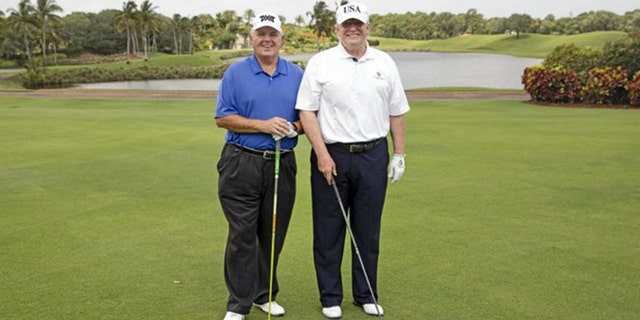 President Trump and Rush Limbaugh pose at the Trump International Golf Course on Friday, April 19, 2019.