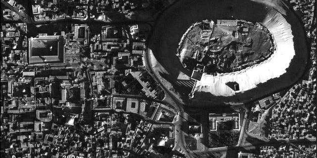 A high-resolution U2 sketch of a bulwark in Aleppo, Syria, taken Nov. 19, 1959.