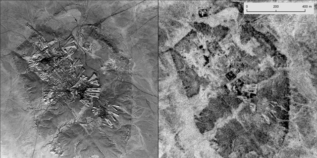Left: A U2 picture of Ur (Tell al-Muqayyar), Iraq, prisoner on Oct. 30, 1959. Right: a CORONA satellite picture of a same site prisoner on May 4, 1968. (Emily Hammer and Jason Ur)