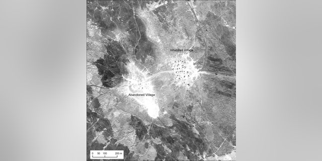 An inhabited Marsh Arab village and adjacent abandoned village in southern Iraq, photographed during a U2 mission in January 1960.