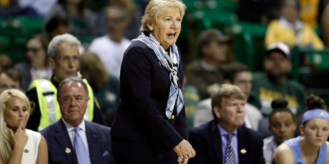 Sylvia Hatchell and three of her assistants were put on leave Monday. (AP Photo/Tony Gutierrez)