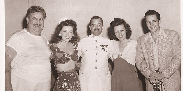 USO Tour with (left to right) Billy Gilbert, Fay McKenzie, unknown, Lolly McKenzie and Desi Arnaz.