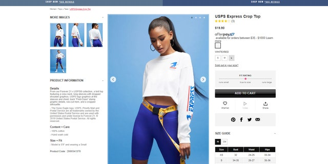 """The collection, called """"Forever 21 X USPS,"""" features jackets, shorts, joggers and several tops — many of which are of the crop- or tube-top variety."""