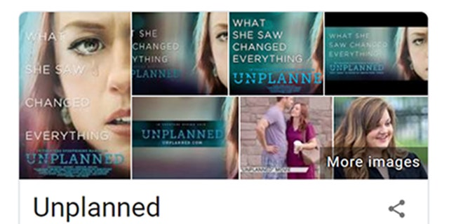 A Google screenshot shows 'Unplanned' listed as 'Drama/Propaganda.'