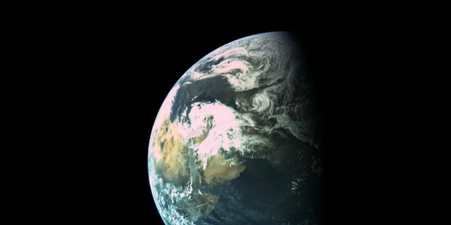 Israel's Beresheet lunar lander captured this image of Earth on March 31, 2019, from a distance of about 9,940 miles (16,000 kilometers). The Arabian peninsula and southeastern Africa are visible.
