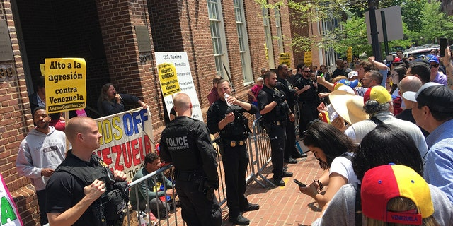 Activists gathered outside the now-shuttered Venezuela embassy in Washington, D.C. amid new unrest in the South American country.