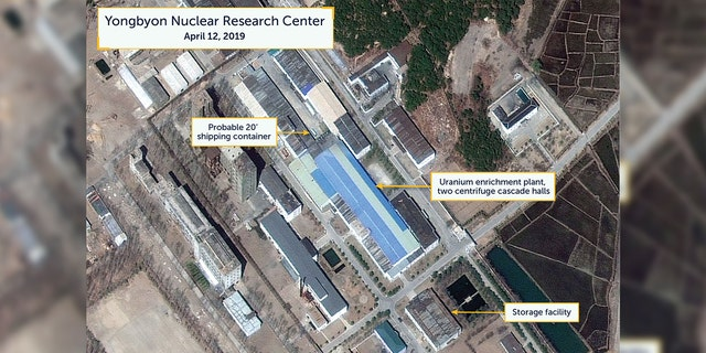 A view of what researchers of Beyond Parallel, a CSIS project, describe as a probably 20-foot shipping container near the uranium enrichment plant at the Yongbyon Nuclear Research Center in North Pyongan Province, North Korea, in this commercial satellite image taken April 12, 2019 and released April 16.