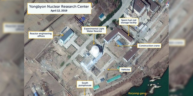 A view of vehicles near what researchers of Beyond Parallel, a CSIS project, describe as being the Experimental Light Water Reactor at the Yongbyon Nuclear Research Center in North Pyongan Province.
