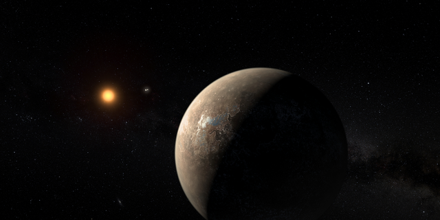 Artist's illustration of Proxima b, the Earth-size world that orbits the red dwarf star Proxima Centauri. Proxima b may have a neighbor: Astronomers have just detected a candidate planet in the same system.