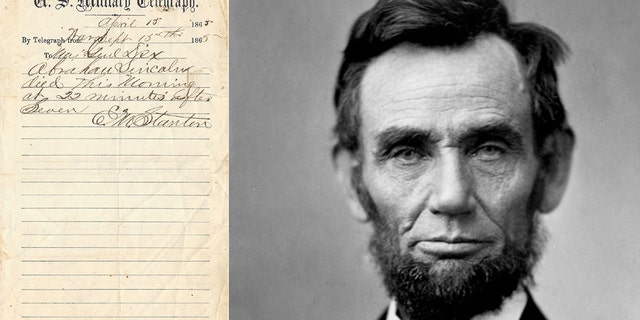 An original telegram announcing the death of former President Abraham Lincoln is now up for sale.