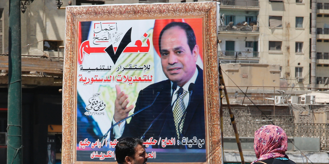 A banner supporting proposed amendments to the Egyptian constitution showed President Abdel-Fattah el-Sissi. (AP Photo/Amr Nabil)