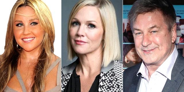 From l-r: Amanda Bynes, Jennie Garth and Alec Baldwin all celebrate their birthday on April 3.