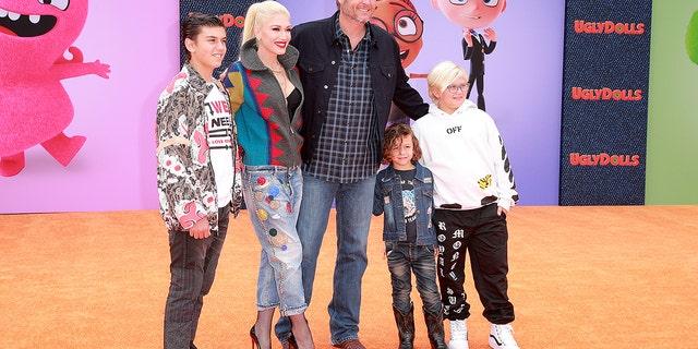 "Kingston Rossdale, Gwen Stefani, Blake Shelton, Apollo Bowie Flynn Rossdale, and Zuma Nesta Rock Rossdale attend STX Films World Premiere of ""UglyDolls"" at Regal Cinemas L.A. Live on April 27, 2019."