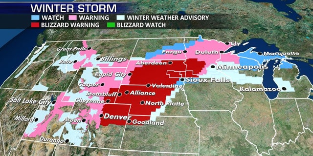 Blizzard warning stretch across 6 states.