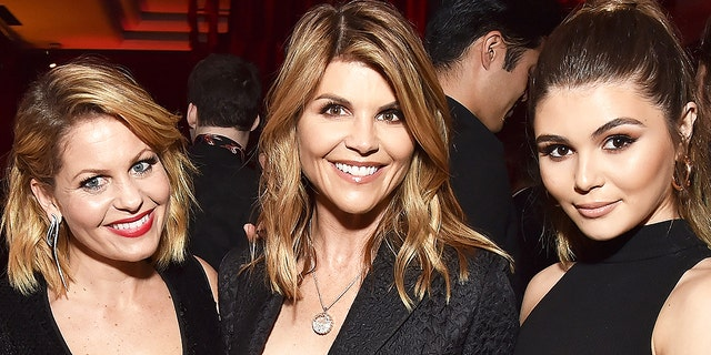 Candice Cameron-Bure, Lori Loughlin and Olivia Jade Giannulli attend the Netflix Golden Globes after party at Waldorf Astoria Beverly Hills on Jan. 7, 2018 in Beverly Hills, Calif.