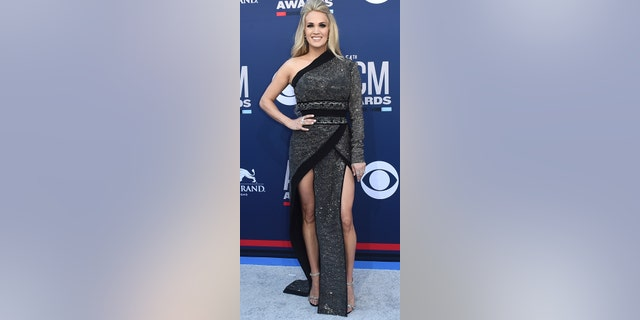 Carrie Underwood arrives at the 54th annual Academy of Country Music Awards at the MGM Grand Garden Arena on Sunday, April 7, 2019, in Las Vegas.