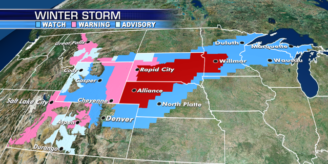 Winter storm and blizzard warnings stretch across the Central U.S. from a late-season winter storm.