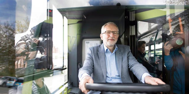 Britain's Labour leader Jeremy Corbyn is filmed on an 'eco bus' in Nottingham, England, Thursday April 25, 2019.