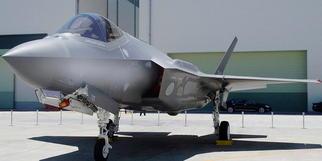 Japan Air Self-Defense Force's F-35A stealth jet at a factory of Mitsubishi Heavy Industries, in Toyoyama, central Japan, in 2017.