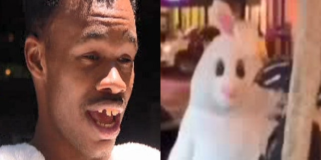 Antoine McDonald identified himself as the person underneath the Easter bunny suit.