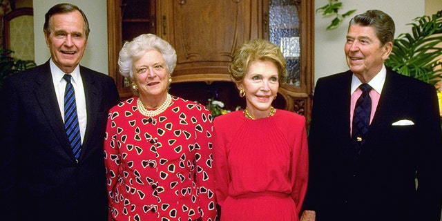 Former President George H.W. Bush and former first lady Barbara Bush reunite with former White House mates President Ronald and former first lady Nancy Reagan during Republican National. Convention in April 1992.