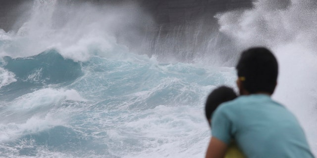 A man and his son watch as waves crash off sea cliffs along the southeast shore of Oahu as Hurricane Lane approaches Honolulu, Hawaii, on Aug. 24, 2018. (AP Photo/Caleb Jones, File)