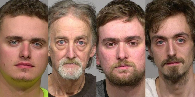 Brian Keene, second from left, is accused of knowing his sons Josiah, 20, Elijah, 27, and James, 29 (left to right) were allegedly sexually assaulting their younger siblings and doing nothing about it.